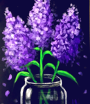 E8  Purple Flowers in Jar