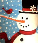 G12  Red Bird on Snowman
