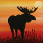 B15  Moose or Bear at Sunset