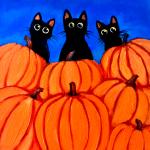 F5  3 Black Kittens with Pumpkins