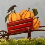 F2  Crow on Pumpkin Wheelbarrow