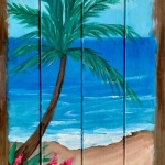 Tropical Beach on Wood Pallet