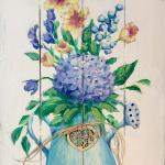E17  Hydrangea Bouquet on Pallet Board