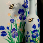 E33  Iris and Bee, canvas or bottle