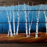 F13  Fall Birches on Pallet Board