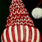 G32  Snowman's Knit Hat on Chalkboard Sign