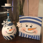 G17  Snowman Wine Glass and Mini Canvas